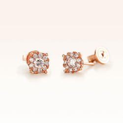 18K Pink Gold Cluster Diamond 0.35 ct. Stud Earrings