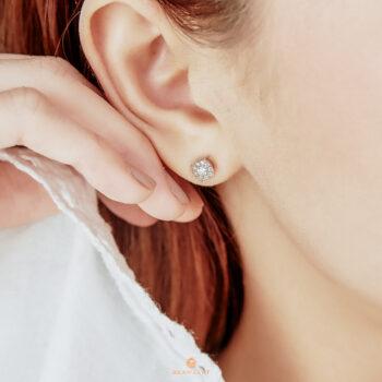 18K Pink Gold Cluster Diamond 0.35 ct. Stud Earrings
