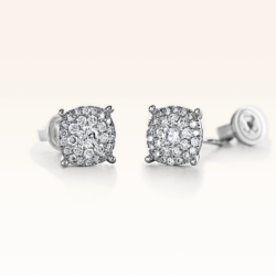 18K White Gold Double Row Cluster Diamond 0.50 ct. Stud Earrings
