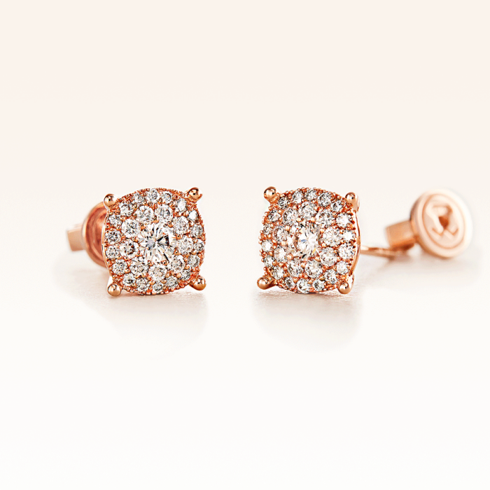 18K Pink Gold Double Row Cluster Diamond 0.50 ct. Stud Earrings