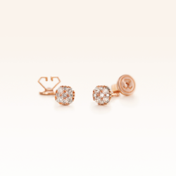 18K Pink Gold Square Emerald Shape Stud Earrings