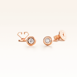 18K Pink Gold Bezel Set Diamond 0.10 CT. Stud Earrings