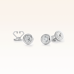 18K White Gold Bezel Set Diamond 0.20 CT. Stud Earrings