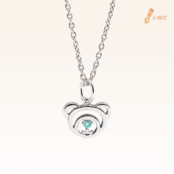 Silver March Birthday Aquamarine Color CZ Beawelry Pendant