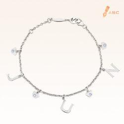 Silver June Birthstone Light Amethyst Color CZ Charm Bracelet