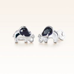 Silver Pear Shape Sapphire Elephant Earrings