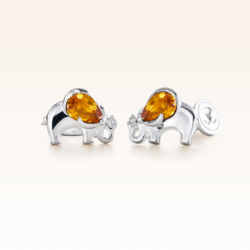 Silver Pear Shape Yellow Sapphire Elephant Earrings