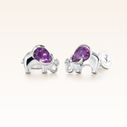 Silver Pear Shape Amethyst Elephant Earrings