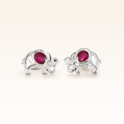 Silver Oval Ruby Elephant Earrings