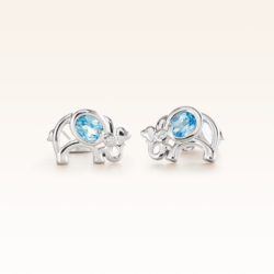 Silver Oval Blue Topaz Elephant Earrings