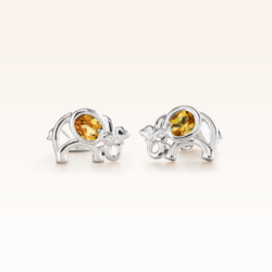 Silver Oval Yellow Sapphire Elephant Earrings