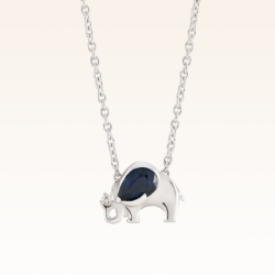 Silver Pear Shape 6x4 mm. Sapphire Elephant Pendant