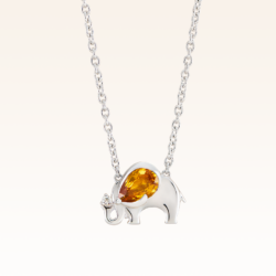 Silver Pear Shape 6x4 mm. Yellow Sapphire Elephant Pendant