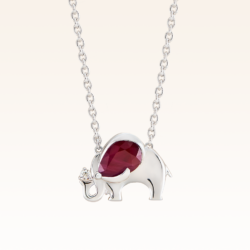 Silver Pear Shape 7x5 mm. Ruby Elephant Pendant