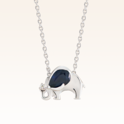 Silver Pear Shape 7x5 mm. Sapphire Elephant Pendant