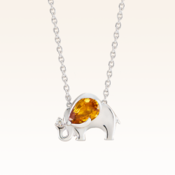 Silver Pear Shape 7x5 mm. Yellow Sapphire Elephant Pendant