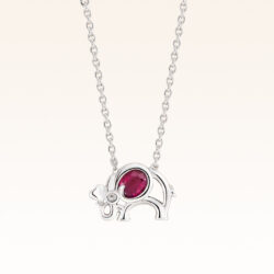 Silver Oval 4x3 mm. Ruby Elephant Pendant