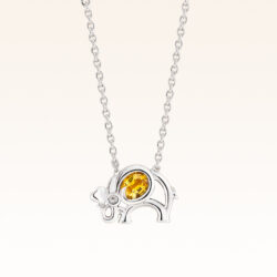 Silver Oval 4x3 mm. Yellow Sapphire Elephant Pendant