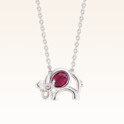 Silver Oval 5x4 mm. Ruby Elephant Pendant