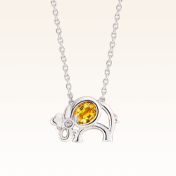 Silver Oval 5x4 mm. Yellow Sapphire Elephant Pendant