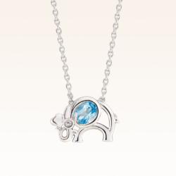 Silver Oval 5x4 mm. Blue Topaz Elephant Pendant