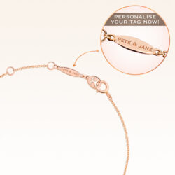 14K Pink Gold Hanging Hearts Diamond Bracelet