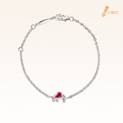 Silver Pear Shape Ruby Elephant Bracelet