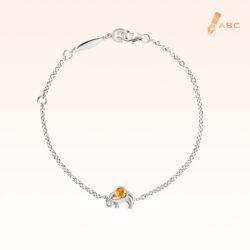 Silver Pear Shape Yellow Sapphire Elephant Bracelet