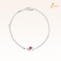Silver Oval Ruby Elephant Bracelet