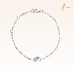 Silver Oval Blue Topaz Elephant Bracelet