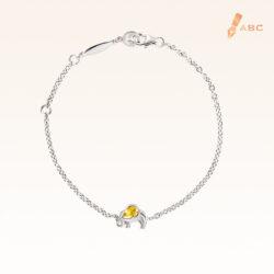 Silver Oval Yellow Sapphire Elephant Bracelet
