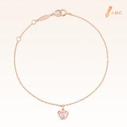 14K Pink Gold  Mini Hanging Bear Bracelet with 0.05 ct.Diamond
