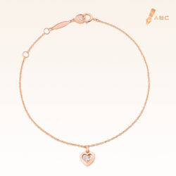 14K Pink Gold  Mini Hanging Heart Bracelet with 0.05 ct.Diamond