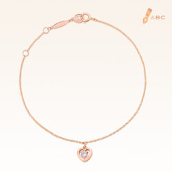 14K Pink Gold  Mini Hanging Heart Bracelet with 0.10 ct.Diamond