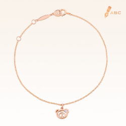 14K Pink Gold Hanging Beawelry Bear Diamond Bracelet