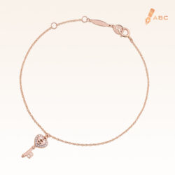 14K Pink Gold Hanging Heart Key Diamond Bracelet