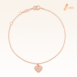 14K Pink Gold Hanging Love Bear Diamond Bracelet