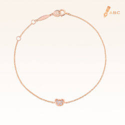 14K Pink Gold Mini Hanging Beawelry Bear Diamond Bracelet