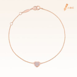 14K Pink Gold Mini Heart Cluster Diamond Bracelet