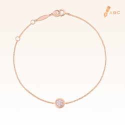 14K Pink Gold Mini Round Cluster Diamond Bracelet