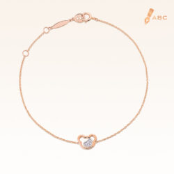 14K Pink Gold Double Bears Diamond Bracelet