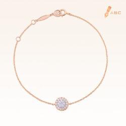 14K Pink Gold Round Diamond Cluster Bracelet 0.20 carat