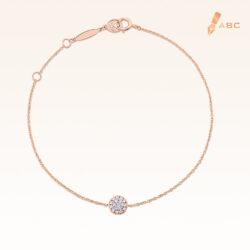 14K Pink Gold Round Diamond Cluster Bracelet 0.10 carat