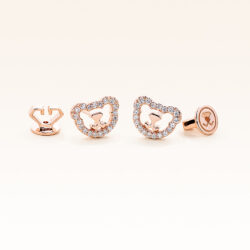 14K Pink Gold Mini Beawelry Bear Diamonds Earrings