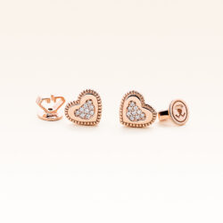 14K Pink Gold Love Bear Diamonds Earrings
