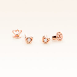 14K Pink Gold Mini Bear Stud Diamonds Earrings