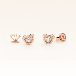 14K Pink Gold Large Bear Stud Diamond Earrings