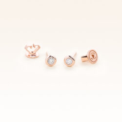 14K Pink Gold Bezel Set Diamonds 0.10 CT. Stud Earrings