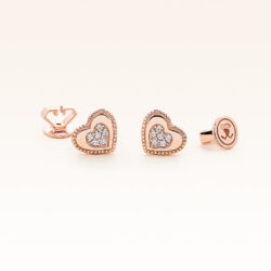 14K Pink Gold Double Hearts Diamonds Earrings