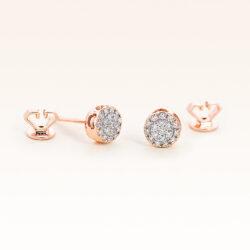 14K Pink Gold Round Diamonds Cluster Earrings 0.20 carat